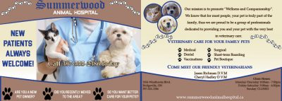 Postcard advertisement for a veterinary business